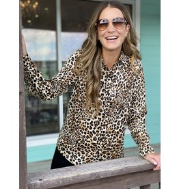 Leopard Long Sleeve Button Down - Taupe
