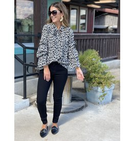 Leopard Blouse w/Statement Sleeve & Tie Neck