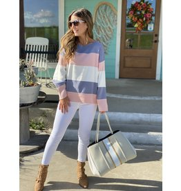Grey & Blush Color Block Sweater