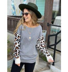 Grey Sweater w/Leopard Sleeves