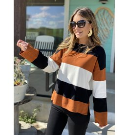 Black & Camel Color Block Sweater