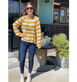 Ivory & Mustard Stripe Puff LongSleeve Top