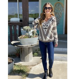 Mocha Animal Print Color Block V-Neck Sweater