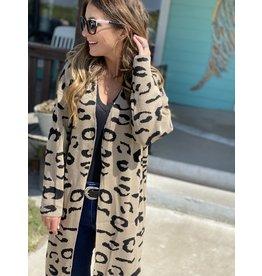 Khaki & Black Leopard Print Cardigan