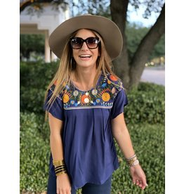Navy Fiesta Embroidered Top