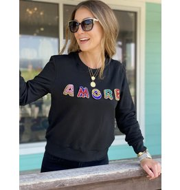 Multi AMORE Sweatshirt in Black