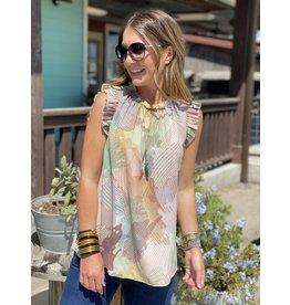 Taupe & Olive Print Flutter Sleeve Top
