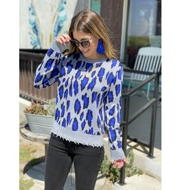 Blue Leopard Distressed Sweater