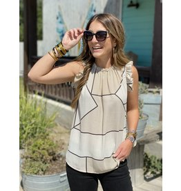 Taupe & Black Flutter Sleeve Top