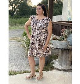 Ruffle Sleeve Plus + Dress in Leopard