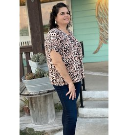 Leopard Print V-Neck Woven Plus Top