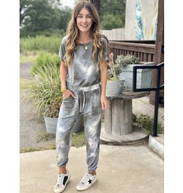 Blue Grey Tie Dye Jumpsuit