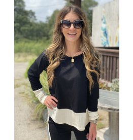 Black w/ Cream Contrast Stripe Top
