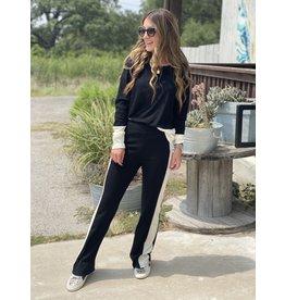 Wide Leg Black Pants w/Contrast Stripe