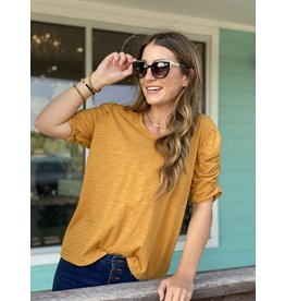 Dear John Butterscotch Puff Sleeve Top