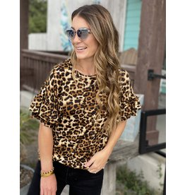 Leopard Knit Ruffled Sleeve Top