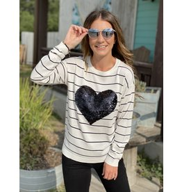 Striped Long Sleeve Top w/Sequin Heart