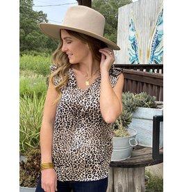 Leopard Sleeveless Ruffle Detail Top