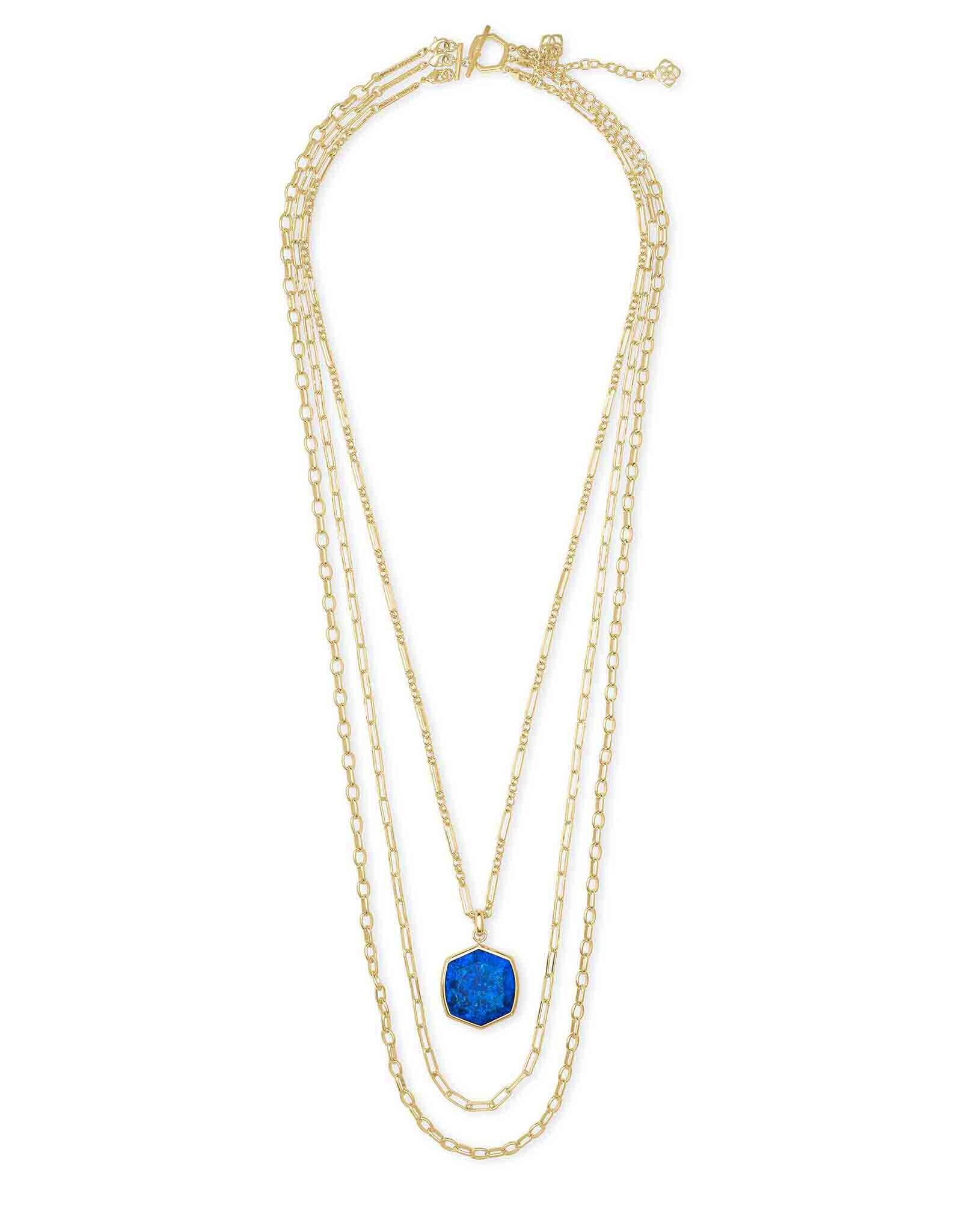 Kendra Scott Davis Multi Strand Necklace Gold Cobalt Howlite