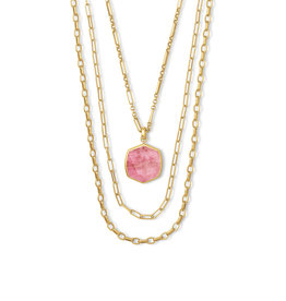 Kendra Scott Davis Multi Strand Necklace Vin Gld Pink Rhodonite