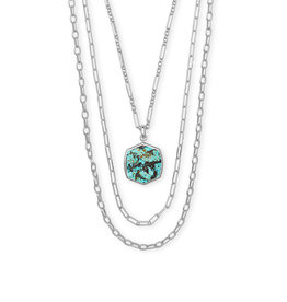 Kendra Scott Davis Multi Strand Necklace Rhod African Turquoise