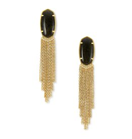 Kendra Scott Deanna Drop Earring Vin Gld Golden Obsidian