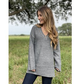 Charcoal Roll-Up Sleeve Sweater Tunic w/Button Detail