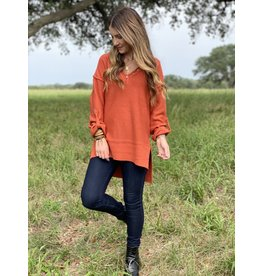 Terracotta Roll-Up Sleeve Sweater Tunic w/Button Detail