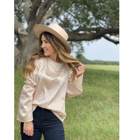 Champagne Leopard Bell Sleeve Blouse
