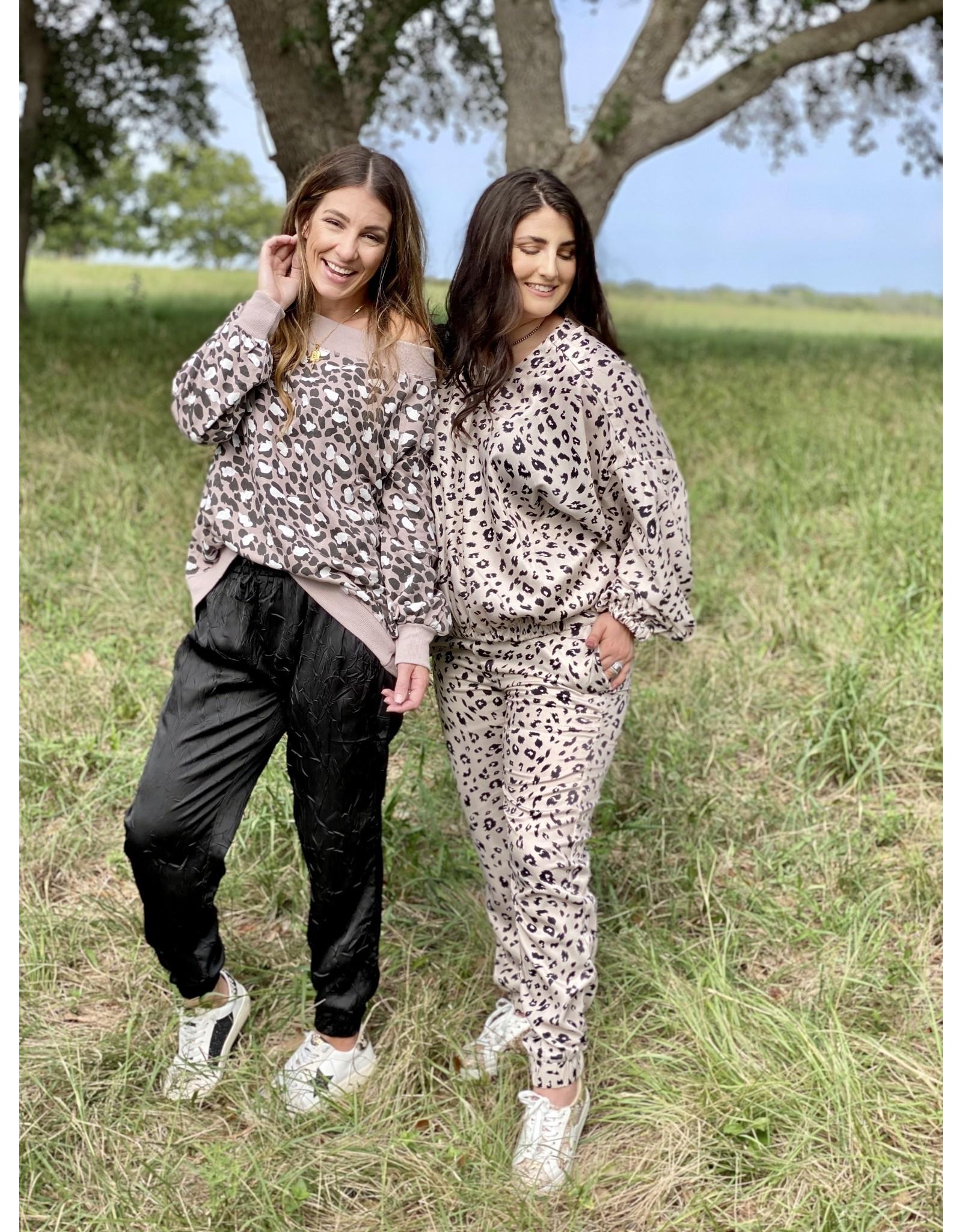 Blush Leopard Print Terry Top