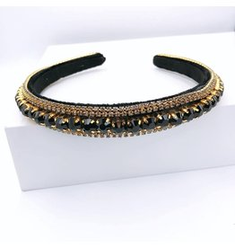 Treasure Jewels Headband - Black Thin Crystal