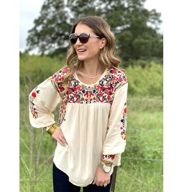 Cream Riley Embroidered Long Sleeve Top
