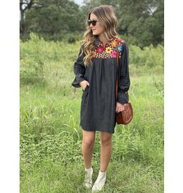 Charcoal Denim Embroidered Yoke Dress