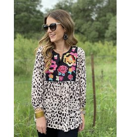 Blush Leopard W/Embroidered Top Long Sleeve