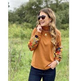 Rust Turtle Neck Embroidered Sweater