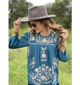 Peacock Embroidered Bell Sleeve Top