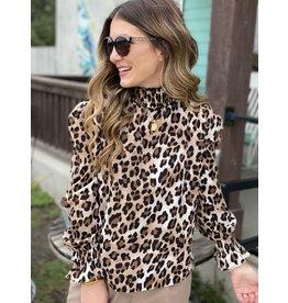 Leopard Print Mock Neck Long Sleeve Top