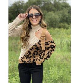One Shoulder Leopard Buckle Detail Sweater