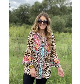Leopard Embroidered Bell Sleeve Top