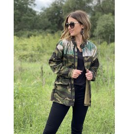 Camo Jacket with Sequin & Embroidery