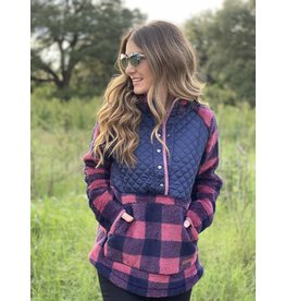 Quilted Yoke Plaid Sherpa Berry