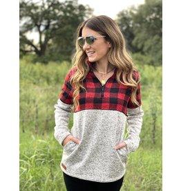 Quarter Zip Pullover Buffalo Plaid Grey