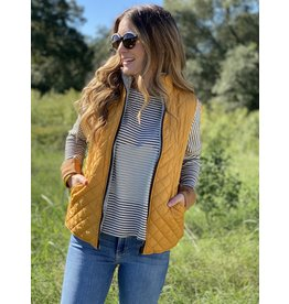 Mustard Reversible Quilted Sherpa Vest