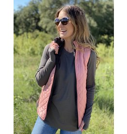 Pink Reversible Quilted Sherpa Vest