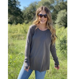 Charcoal Ribbed Knit Long Sleeve
