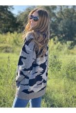 Black & Grey Camo Sweater Open Cardigan