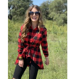 Red & Black Buffalo Plaid Hi Low Peplum Top