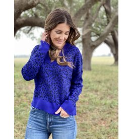 Electric Blue Leopard Sweater
