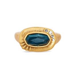 Kendra Scott Anna V. Gold Ring Teal Apatite