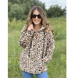Tan Leopard Faux Fur Pullover Hoodie